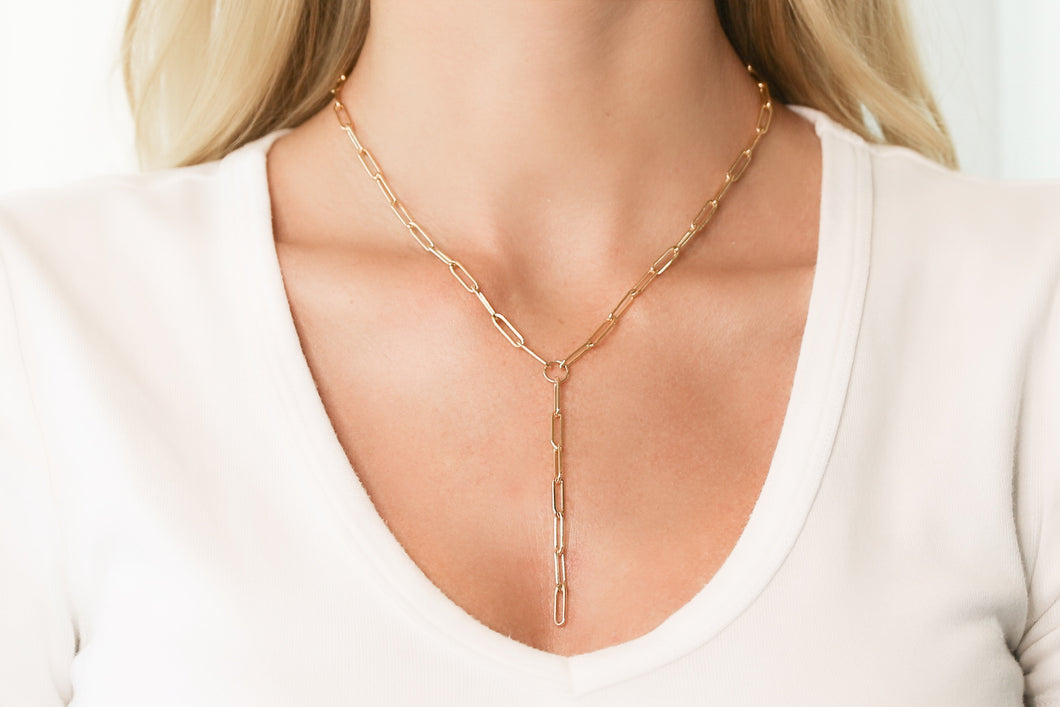 Small Gold Oval Link Chain Lariat Necklace