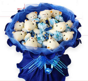 Bouquet 11 oursons bleu