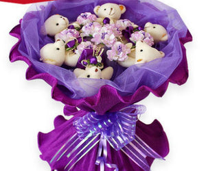 Bouquet 6 oursons mauve