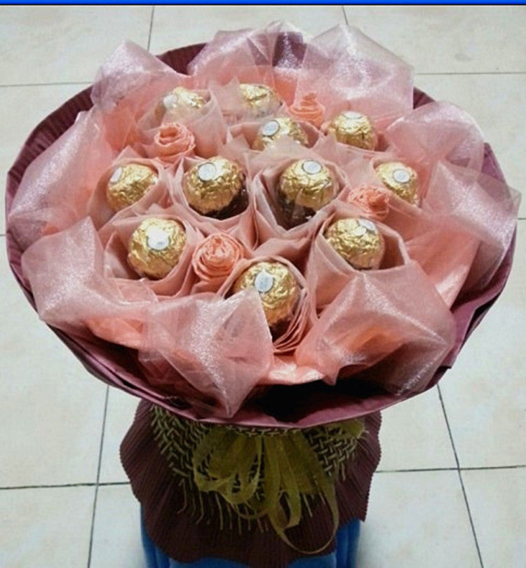 Bouquet Ferrero 11 pieces saumon