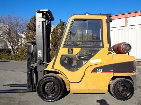 2007 CATERPILLAR P7000 7000LB LP GAS FORKLIFT PNEUMATIC 2 STAGE MAST SS