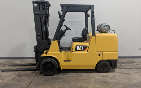 2008 CATERPILLAR GC55K 12000LB LPG FORKLIFT CUSHION 3 STAGE MAST SS