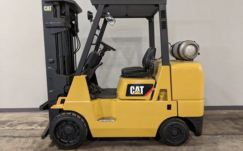 2001 CATERPILLAR GC40K 8000LB LP GAS FORKLIFT CUSHION 3 STAGE MAST SS