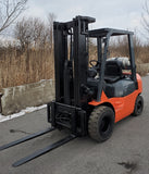 2007 TOYOTA 7FGU25 5,000 LB LPG FORKLIFT SIDE SHIFT PNEUMATIC 86/189 3 STAGE PLUMBED 4 WAYS