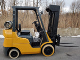 2005 CAT / MITSUBISHI FGC25N 5,000 LB LPG FORKLIFT CUSHION  QUAD MAST SIDE SHIFT