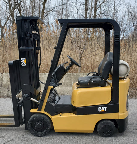 2009 CAT GC15K 3,000 LB LPG FORKLIFT CUSHION 3 STAGE MAST SS