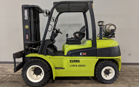 2015 CLARK C40L 8000LB LPG FORKLIFT PNEUMATIC 3 STAGE MAST SIDE SHIFT