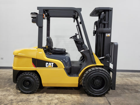 2015 CAT DP35N 7000LB DIESEL FORKLIFT PNEUMATIC 3 STAGE MAST SS