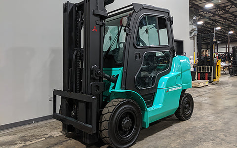2013 MITSUBISHI FD40ND 8000LB DIESEL FORKLIFT PNUEMATIC 3 STAGE MAST SS