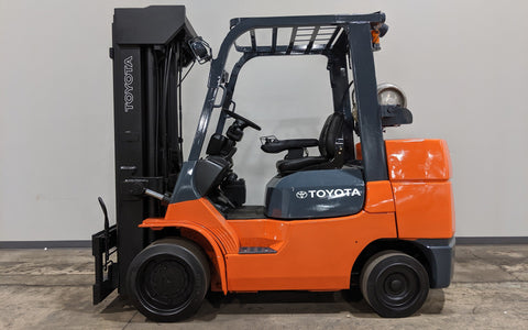 2012 TOYOTA 7FGCU35 8000LB LPG FORKLIFT CUSHION QUAD MAST 4 WAY