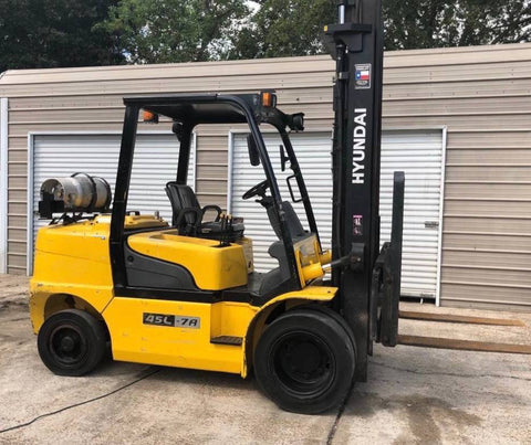 2011 HYUNDAI L45-7A 9000LB LP GAS FORKLIFT PNEUMATIC 2 STAGE SIDE SHIFT