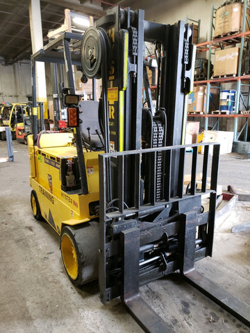 2000 HYSTER E100XL3 10000 LB ELECTRIC CUSHION 92/185 3 STAGE MAST