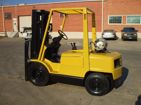 "2000 HYSTER H60XM 6000LB LP GAS FORKLIFT PNEUMATIC 189"" MAST 3 STAGE MAST SIDE SHIFT"