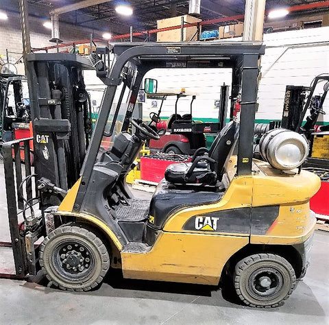 2011 CATERPILLAR P5000 5000LB LPG FORKLIFT PNEUMATIC 3 STAGE MAST SS