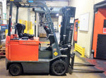 2008 TOYOTA 8FBCU25 5000LB 36V ELECTRIC FORKLIFT CUSHION 3 STAGE MAST SS