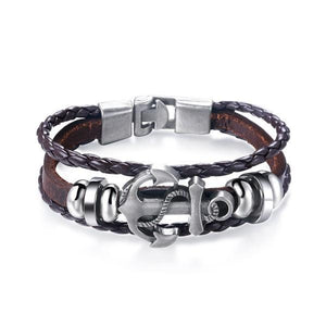Alloy Sword Brown Leather Weave Men's Bracelet @ Sons of Odin™ - Jewelry on Sale, Earrings for Men,