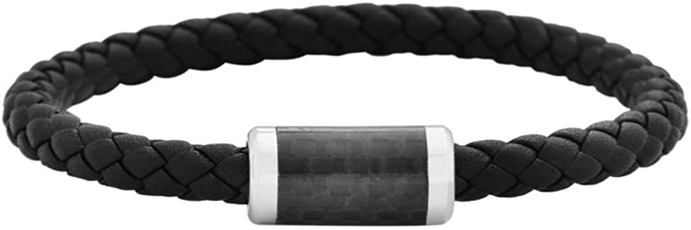 Geoffrey Beene Men's Braided Genuine Leather & Stainless Steel Bracelet / Carbon @ Sons of Odin™ -