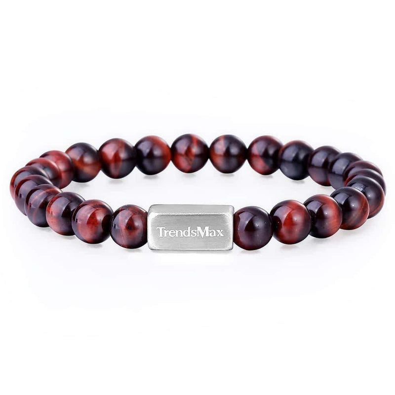 Red Tiger Eye Beaded Bracelet Women Men Gemstone Beads Yoga Meditation 8mm 10mm