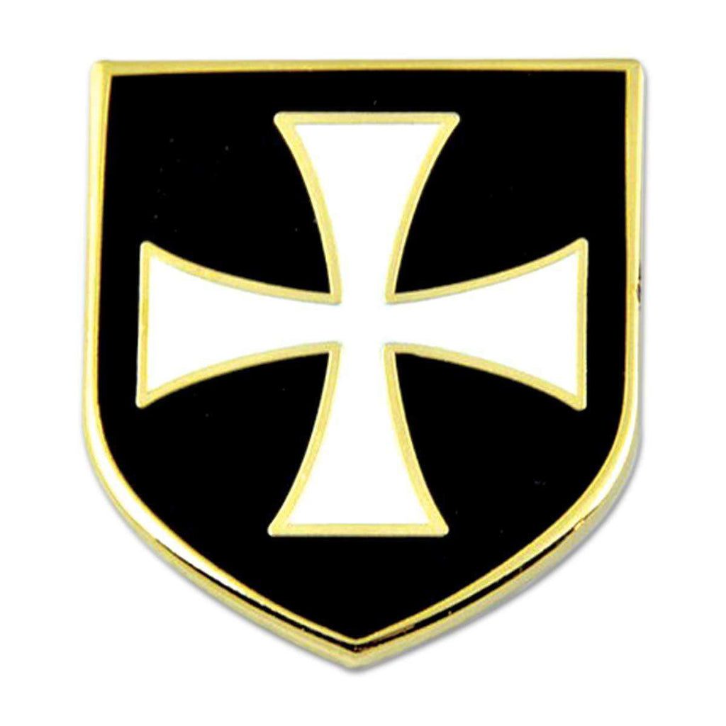 "Knights Templar Crusader White Cross Black Shield Masonic Lapel Pin - 1"" Tall"