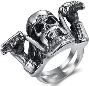 Jude Jewelers Stainless Steel Motorcycle Rider Biker Gothic Skull Party Ring