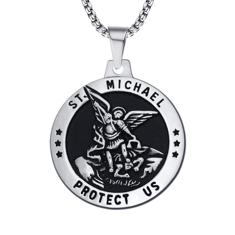 St-Michael-Necklace-Vintage-Stainless-Steel-Archangel-Pendant-Chain