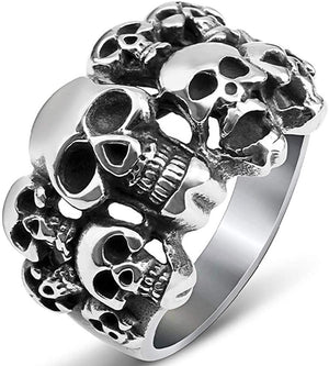 Stainless Steel Gothic Skull Vintage Antique Style Biker Cocktail Party Ring
