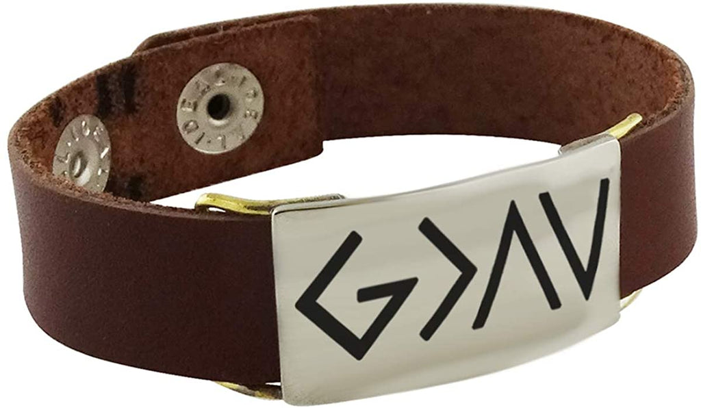 God is Greater than the Highs & Lows - Engraved Symbols Bracelet / Leather Band @ Sons of Odin™ -