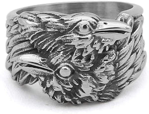 Viking Men Odin Raven Huginn & Muninn Stainless Steel Ring Nordic Jewelry / Sons of Odin™ - Men's on