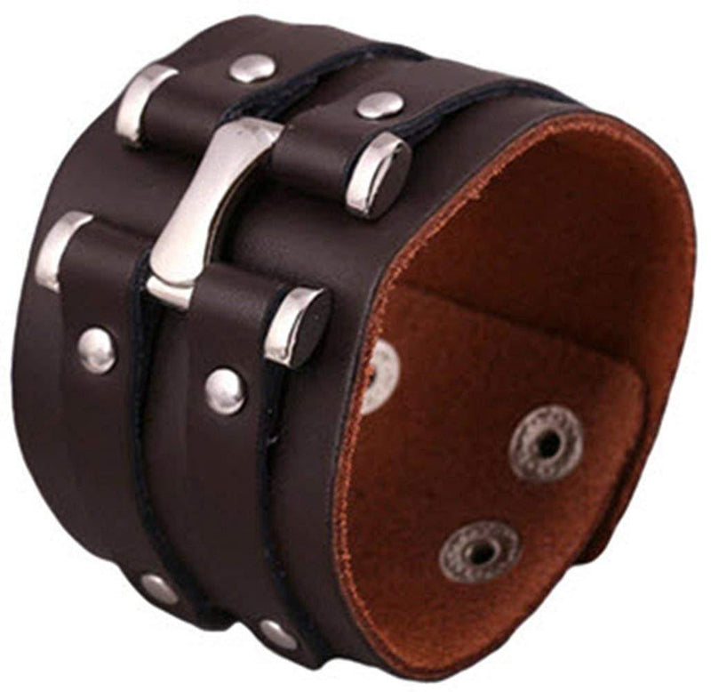 Pure Handmade Genuine Leather Bracelets Punk Rock Wide Cuff Bracelets & Bangle for Women Men