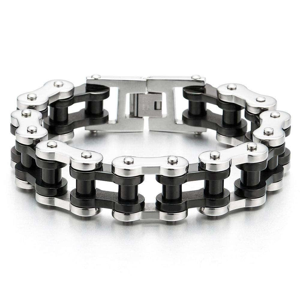 Exquisite Men's Large Silver Black Motorcycle Bike Chain Bracelet of Stainless Steel High Polished