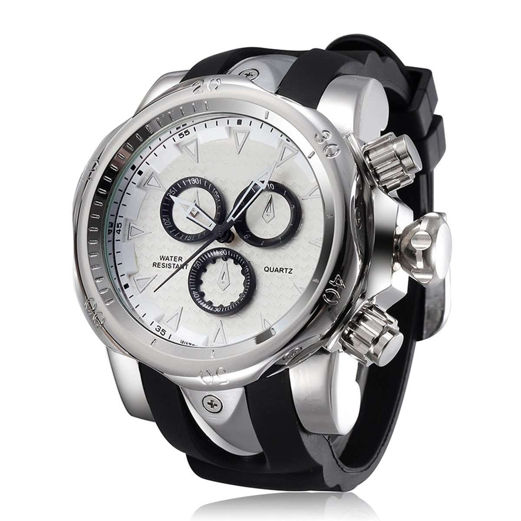 "Large 2.28"" Dial Silver Analog Quartz Waterproof Sport Wrist Watch with Heavy Duty Silicone Wristband"