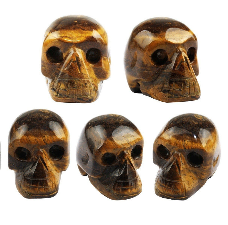 "Tiger's Eye Stone Carving Skull Stone Pocket Statue Figurine Decor 1"" Pack of 5"
