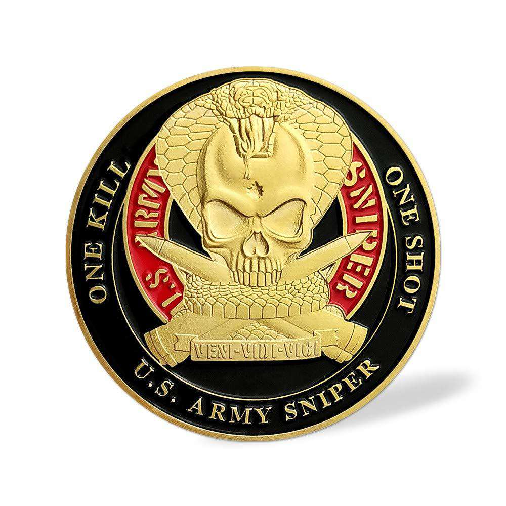 US Army Skull Sniper Challenge Coin One SOne Kill
