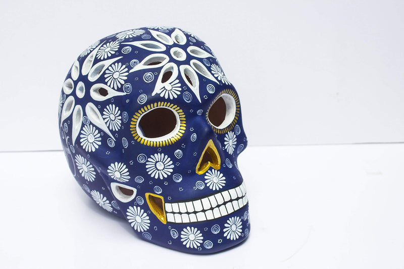 Art Skull Head - Navy Blue - Hand made ceramic sculpture painted by Mexican Artisians- Home - Skeleton - Calavera Artesanal