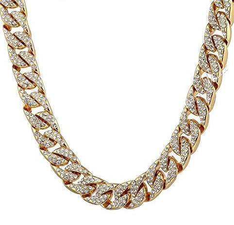 Iced Out Gold Filled Hip Hop Curb Link Cuban Chain Necklace 14mm
