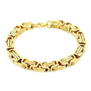 Gold Stainless Steel Byzantine Bracelet - SonsofOdin Co Goth Viking Biker Jewellry