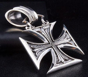 Sterling Silver Chopper Cross Biker Pendant