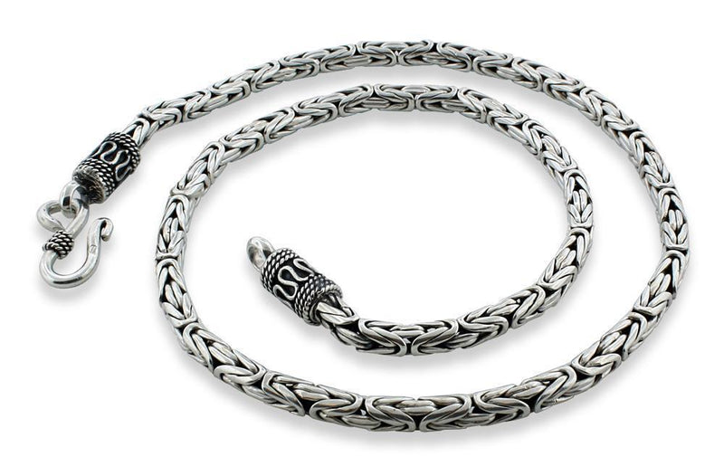 "Sterling Silver 8.5"" Round Byzantine Chain Necklace 4.2mm"