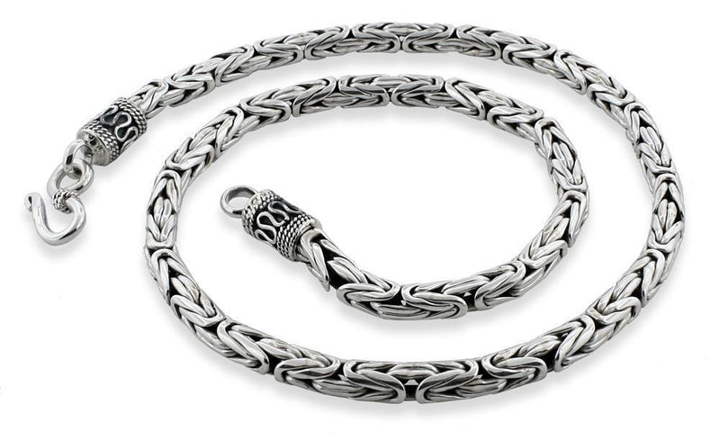 "Sterling Silver 22"" Round Byzantine Chain Necklace 5.0mm"