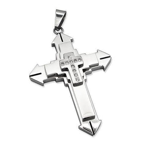 Stainless Steel Contemporary Cz Cross Pendant @ Sons of Odin™ - Men's Jewelry on Sale, Pendants,