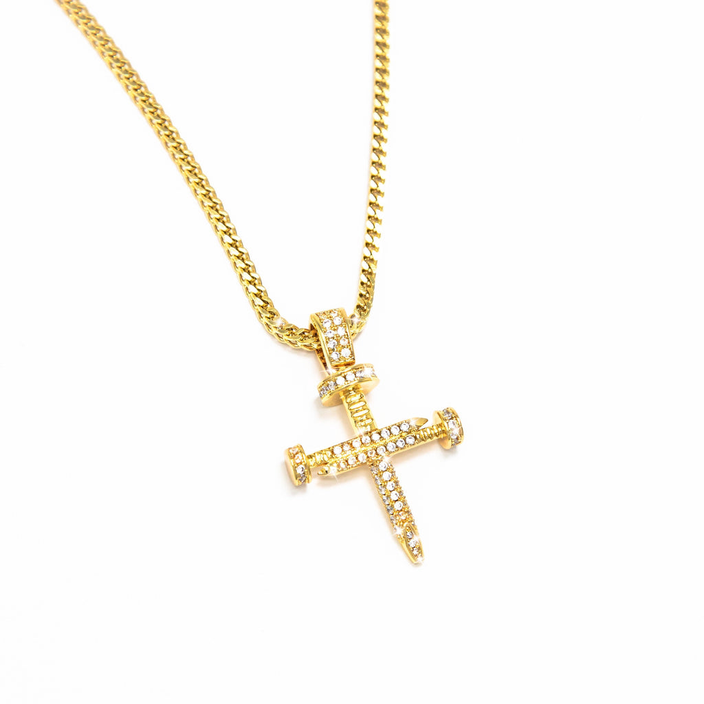 Gold Nail Cross Pendant - Necklace - [option1]