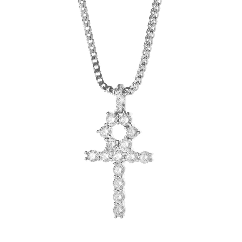 Diamond Ankh Cross Pendant in White Rhodium