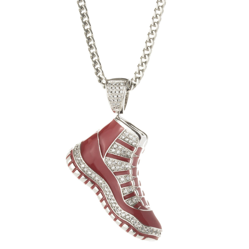 Red & Silver J11 Shoe Pendant @ Sons of Odin™ - Men's Jewelry on Sale, Necklaces, Earrings for Men,