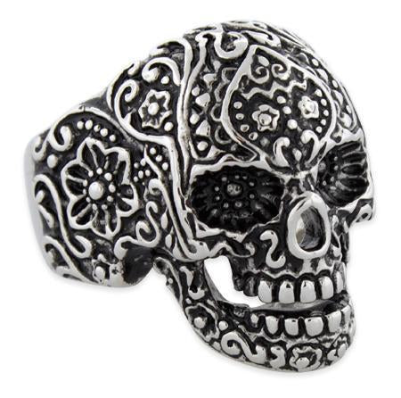 Stainless Steel Garden Skull Ring
