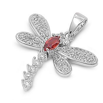 Sterling Silver Garnet Clear CZ Diamond Dragonfly Pendant