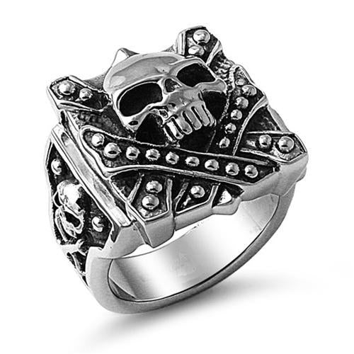 Stainless Steel Straight Buttons Skull Ring