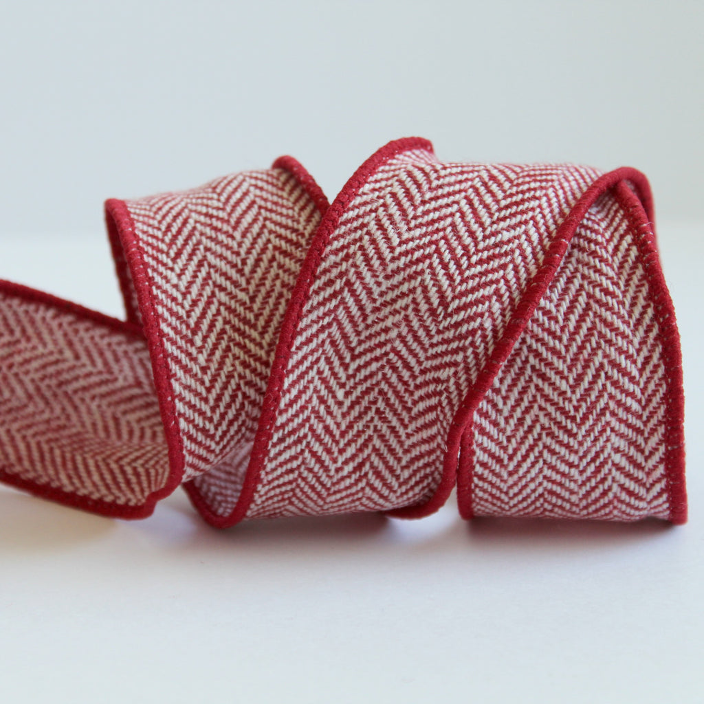 red and white herringbone ribbon