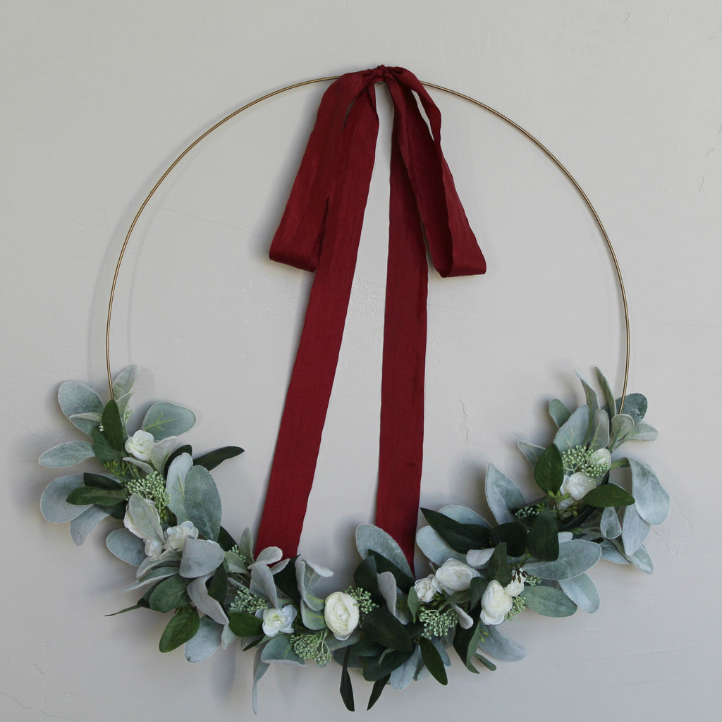burgundy faux silk ribbon