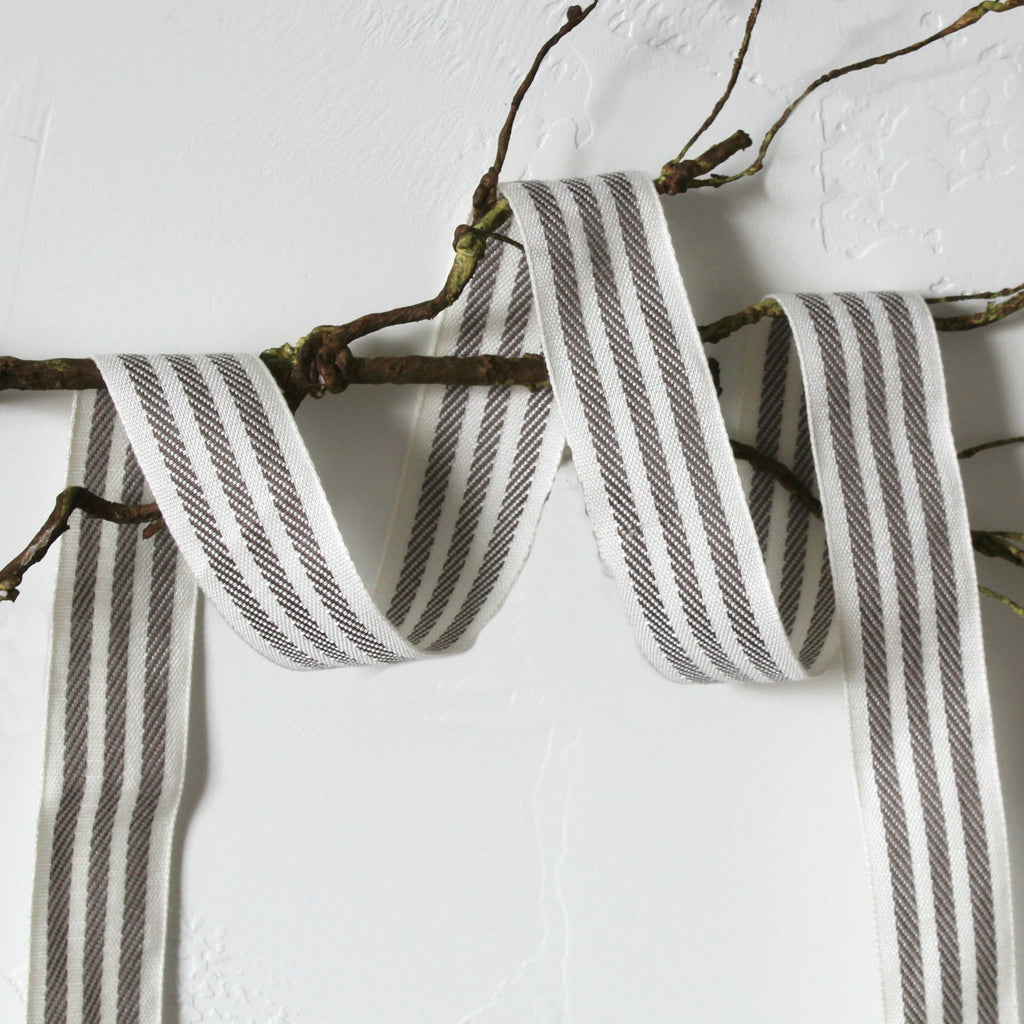 "1.25"" ivory/taupe stripe ribbon"