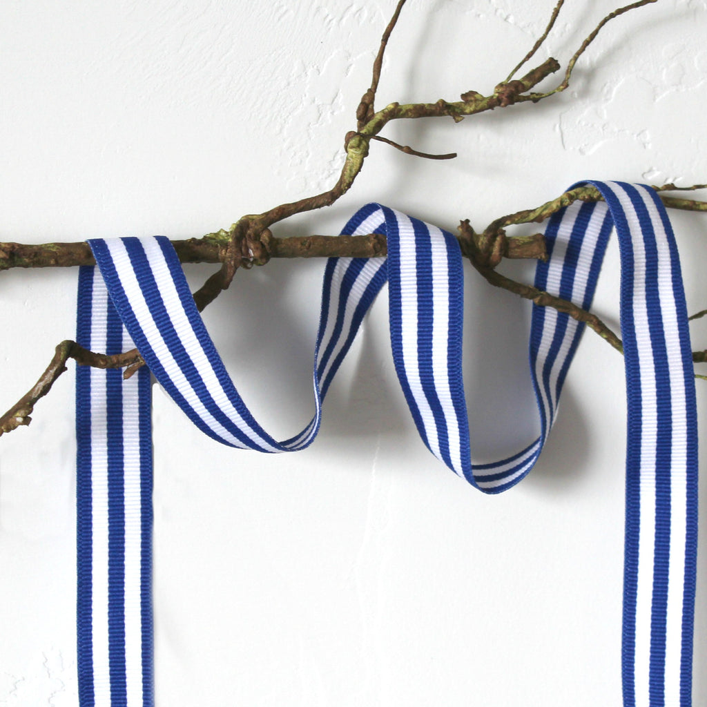 "7/8"" royal blue/white stripe ribbon"